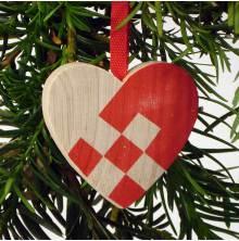 Hjärta hänge med röd dekor
