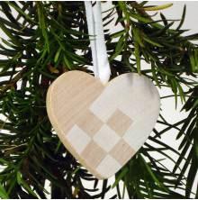 Hjärta hänge med vit dekor