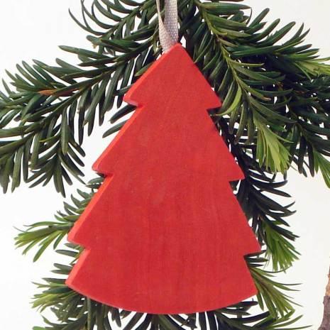 Gran hänge, röd med linneband.